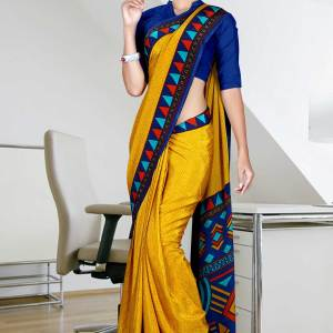 yellow-with-blue-border-italian-crepe-uniform-saree-68-15