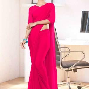 Dark-Pink-Plain-Office-Uniform-Sarees-1108