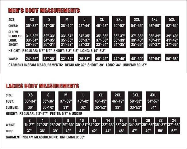 TRU-SPEC 24-7 Sizing Chart