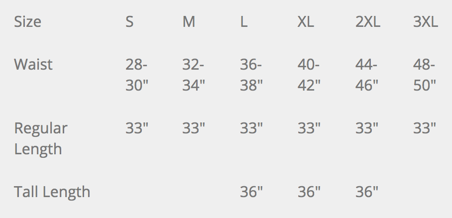 PROPPER Wildland Overpant Size Chart