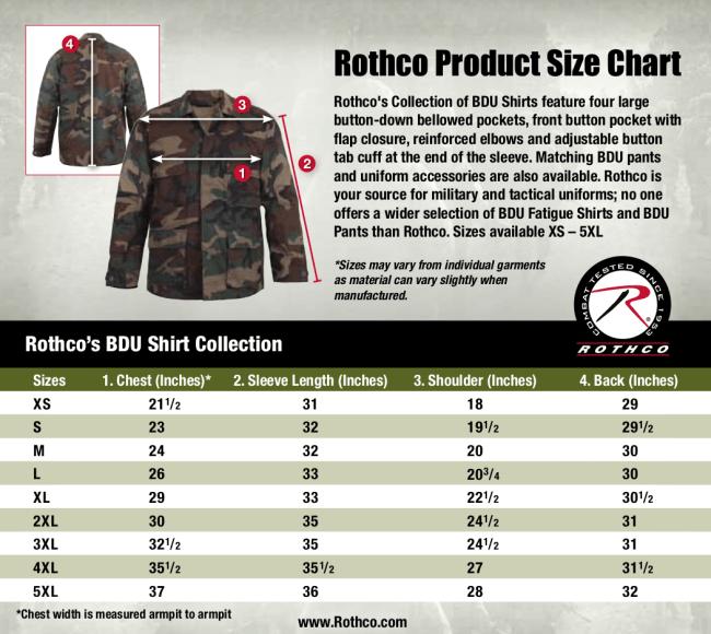 Rothco BDU Shirts-Size Chart
