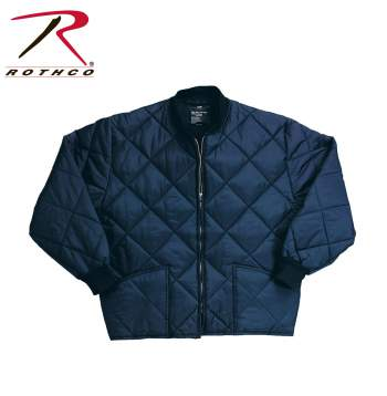 Rothco Diamond Nylon Quilted Flight Jacket - 7160navy-hr1 - Navy Blue