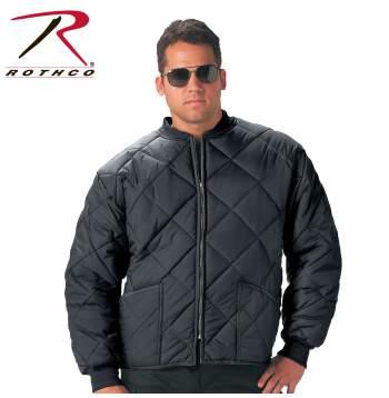 Rothco Diamond Nylon Quilted Flight Jacket - 7230 - Black