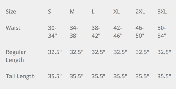 Propper Wildland Pant Size Chart