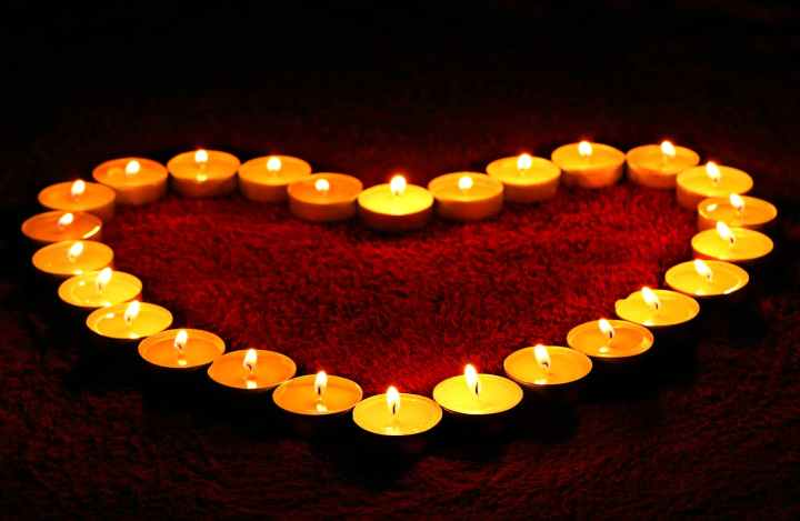 Candles in the shape of a heart