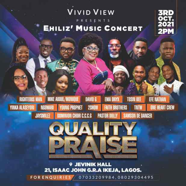 Veteran Gospel Musician & TV Personality, Ehiliz, Set To Host QUALITY PRAISE Concert