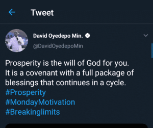 You cannot fast your way into your prosperity – Bishop David Oyedepo