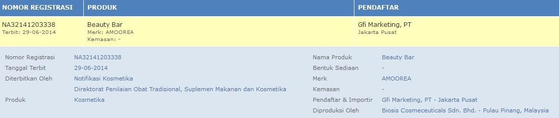 Nomor Izin BPOM Amoorea