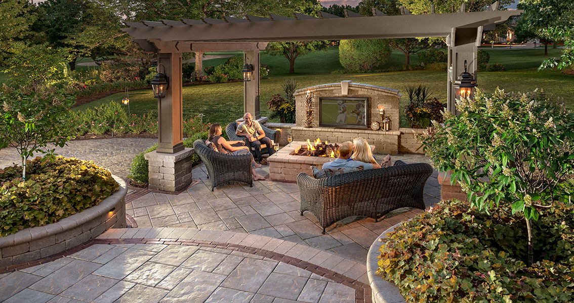 Patio Design Ideas: Using Concrete Pavers for Big Backyard ... on Pavestone Patio Ideas  id=77418