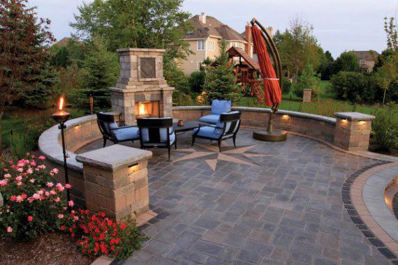paver patio designs with fireplace Maximize Your Patio Space with These Built-in Seating