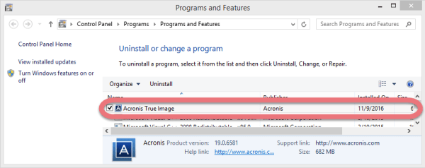 How Should I Uninstall Acronis True Image 2016 in Windows?