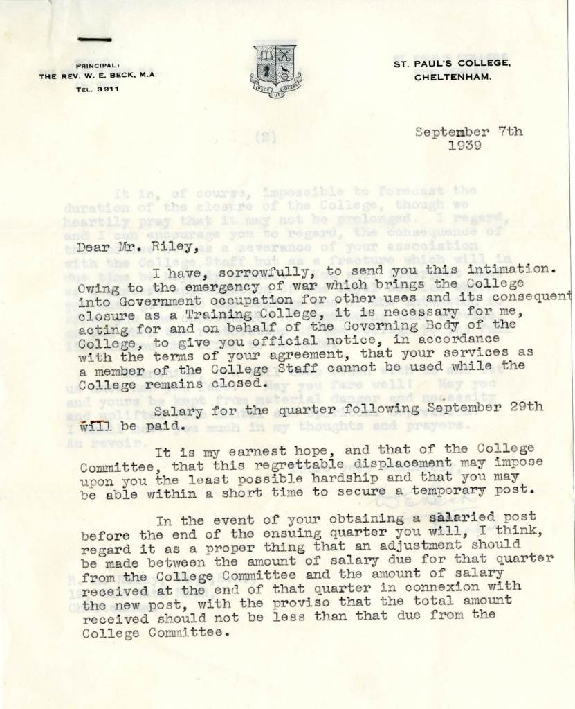 St Pauls requisitioned letter 1939