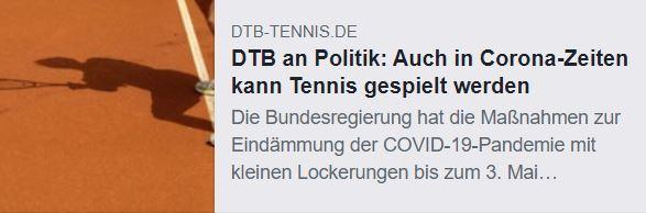 DTB an Politik: Auch in Corona-Zeiten kann Tennis gespielt werden