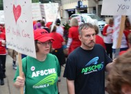 AFSCME Local 1465 members Brenda Thompson and Kevin Habeck joined the United Hospital picket line. Thompson's mother is a nurse at United.
