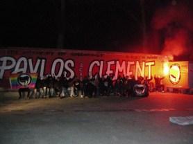 Fresque en hommage à Pavlos & Clément à Toulouse avec l'aide de camarades d'autres villes (octobre 2013)