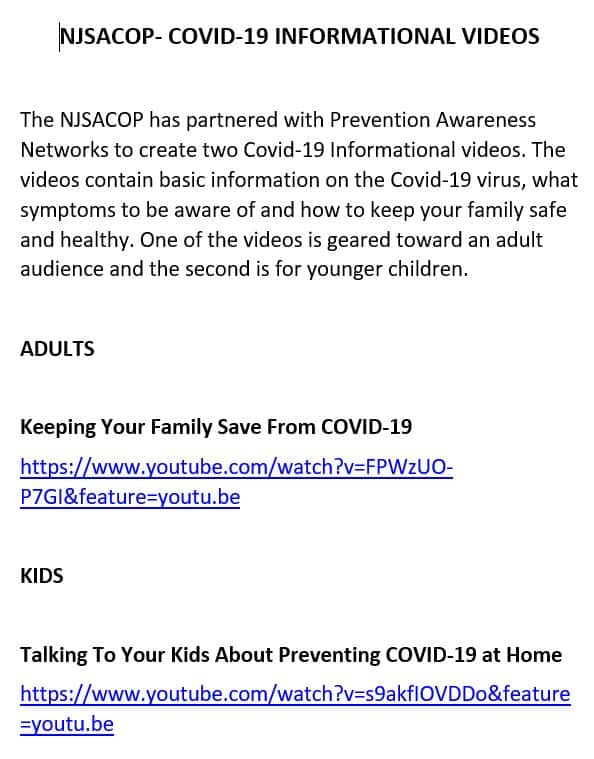 UCPD NJSACOP COVID-19 Informational Videos