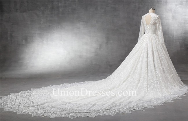Royal Ball Gown Keyhole Back Long Sleeve Vintage Lace