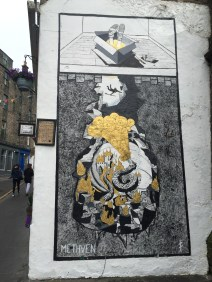 Edinburgh, specifically The Elephant House cafe, which I visited, is the birthplace of J.K. Rowling's Harry Potter series. This street art pays tribute to Diagon Alley which is said to be modeled off of a nearby street.