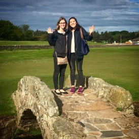 My friend and I give a wave from Swilcan Bridge on the Old Course!