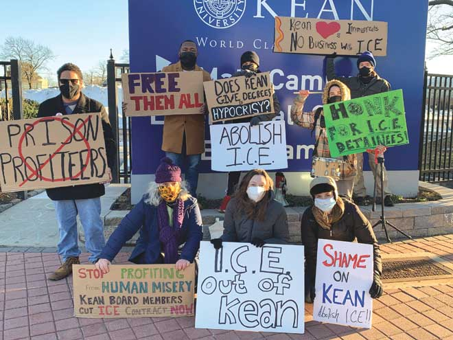 Activists make their feelings heard during anti-ICE protest at Kean University