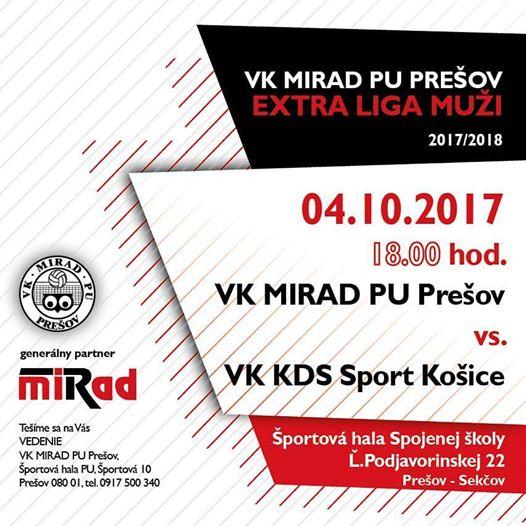Pozvánka na prvý zápas volejbalovej Extraligy mužov. Foto: FB VK Mirad PU Prešov