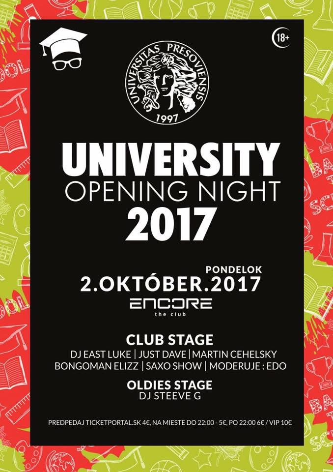 University opening night v Encore. Foto: FB Encore