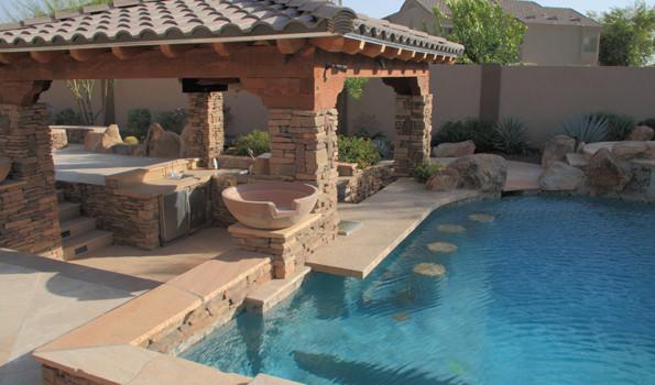 Swim Up Bars, Swimming Pool Bars   Phoenix Landscaping ... on Backyard Pool Bar Designs id=66783