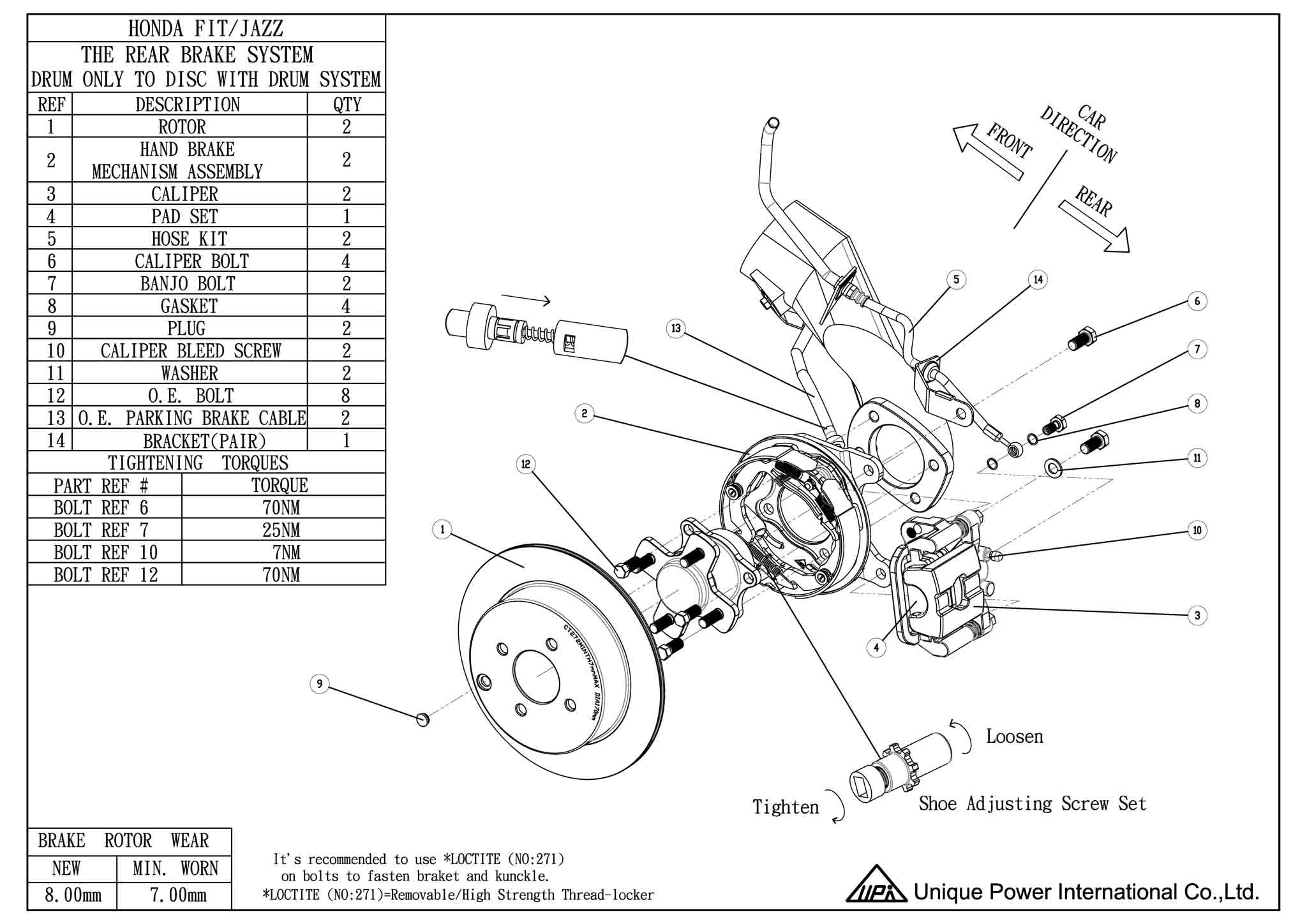 Honda Fit Jazz Rear Drum To Disc Installation Guide