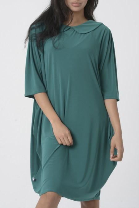 Vestido mujer verde azulado con cuello redondeado