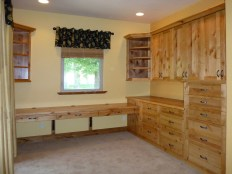 Knotty alder wood desk & storage cabinets