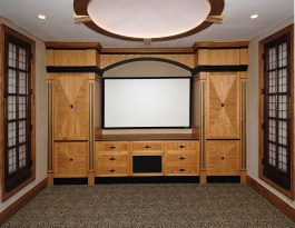 Cherry wood Home Theater cabinet with starburst door panels