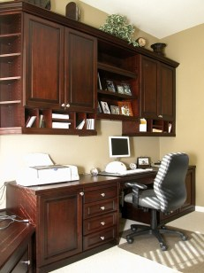 Traditional Cherry Office. Raised panel doors & drawers