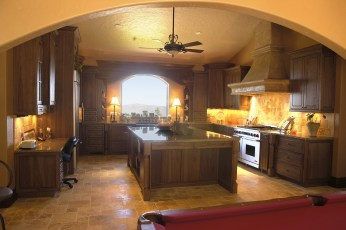 Custom Pecan Kitchen Cabinetry