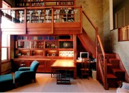 Desk, display, & library all in one. Red birch wood construction. LED illumination. Frameless glass doors. lot of storage. Very unique stairs.