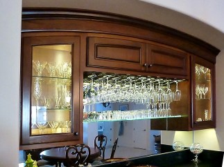 Walnut Beverage Center with LED illumination & glass shelves