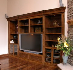 Walnut finished Media cabinet