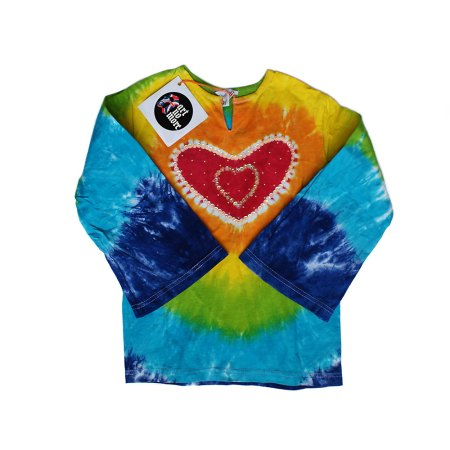 Rainbow sequinned tie dye heart long sleeve top - artnomore.co.uk