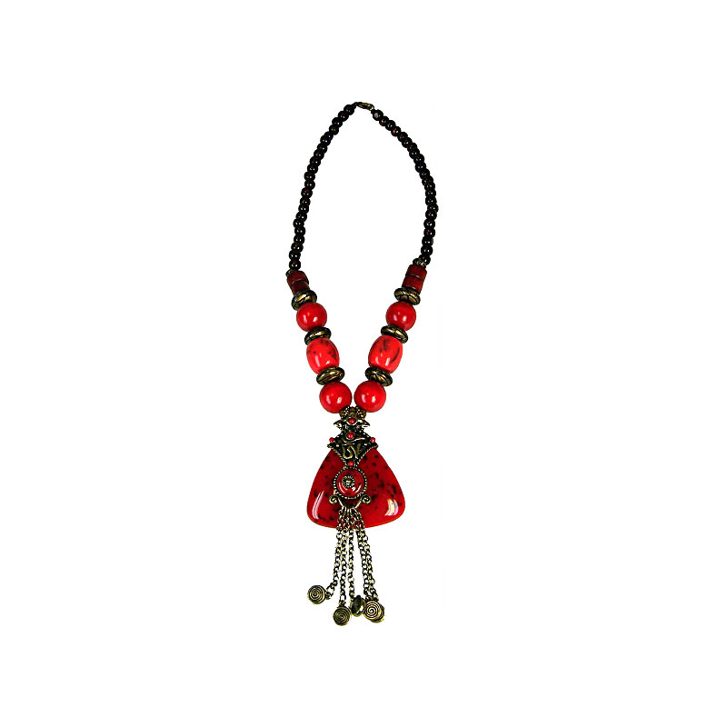 Tibetan Style Triangle & Drop Necklace - artnomore.co.uk