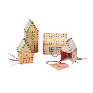 Threading Building Parts – Wooden house toy by Legler - artnomore.co.uk