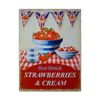 Strawberries and Cream Metal Sign Plaque