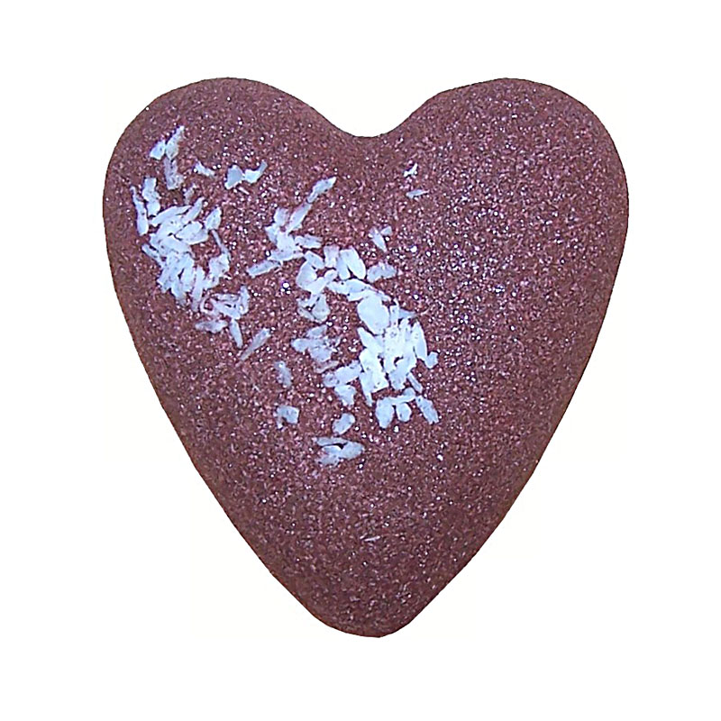 MegaFizz Bath Heart After Dark Chocolate - With Coconut - artnomore.co.uk