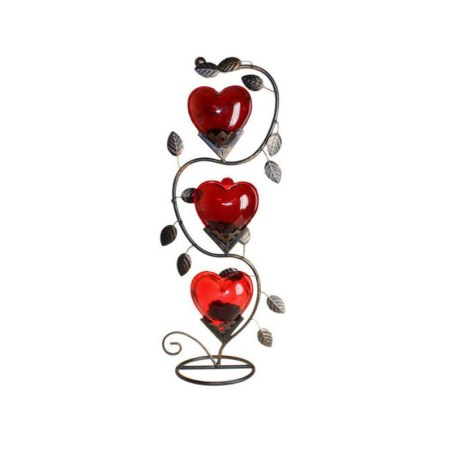 Triple Big Heart Romantic Candle Holder - artnomore.co.uk