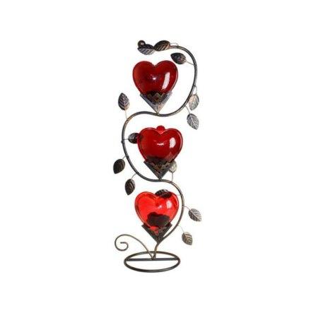 Triple Big Heart Romantic Candle Holder - artnomore.co.uk