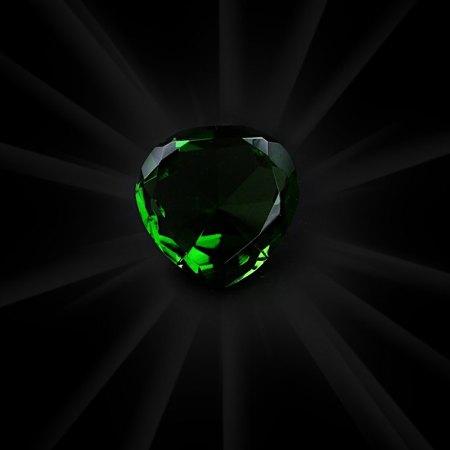 Plain Green Crystal Heart - artnomore.co.uk