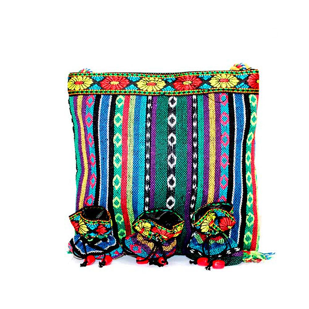 Tibetan Handbags - Fringe Bag 3 pouches design - artnomore.co.uk gift shop