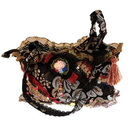 Shabby chic handbag slightly gothic black