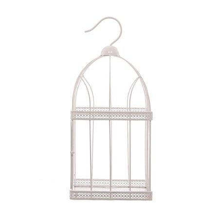 44cm square white wire bird cage decorative image 3