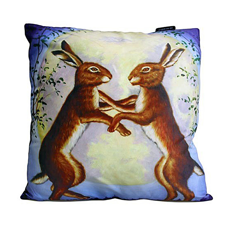 art cushion covers night dancing hares
