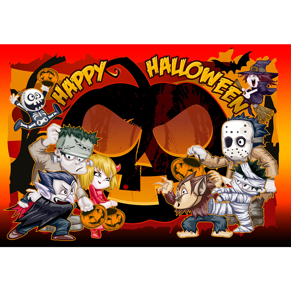 Halloween Cake Toppers Funny Monsters Large Rectangle Design