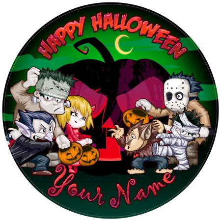 Halloween Cake Toppers Funny Monsters with green background